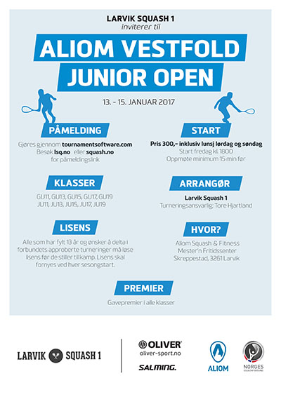 Last ned PDF: Aliom Vestfold Junior Open 2017